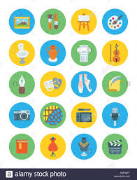 Painting Icon Drawing And Painting Tools Icons Set Cartoon Illustration Of 16