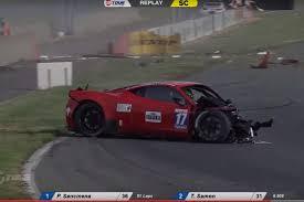 video racer walks away miraculously from crazy ferrari 458 gt3 crash