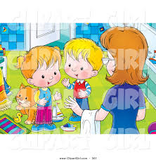 Messy Bathroom Clip Art Of A Mother Instructing Her Two Little Children To Clean