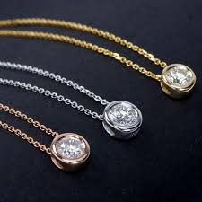 diamond necklace round images 18k gold white gold or rose gold round diamond necklace jpg