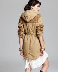 Free People Parka Free People Parka Tapestry Pieced Stretch Herringbone In Natural