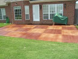 patio stamped concrete patio colored with brick motif wall design