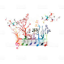 colorful music background with music notes and hummingbirds stock