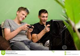 kids playing video game in their room stock photo image 49790318