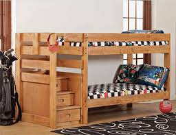 Wooden Bunk Bed With Stairs Bunk Beds With Stairs And Slide Varnished Walnut Wood Bunk Bed