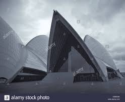 the sydney opera house drama theatre in black and white with a