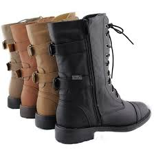 best women s motorcycle riding boots military lace up buckle combat boots mid knee high pack 72 brown color