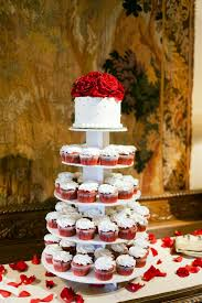 red velvet cupcake and wedding cake tiers