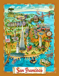 san francisco map painting san francisco illustrated map painting by rabinky