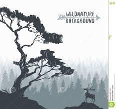 forest design pine tree deer drawing vector sketch stock vector