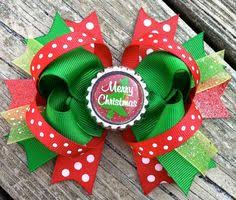 christmas hair bows babychristmas bows chevron christmas by ransomletterhandmade