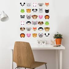 animal decals wall dressed up 30 animal emoji fabric wall decals removable and reusable wall dressed up 1