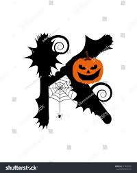 vector halloween halloween alphabet set letters pumpkin on stock vector 217623856