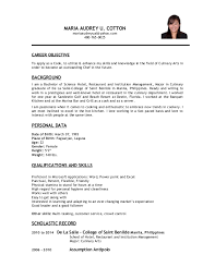 culinary career objective resume sample eliolera com