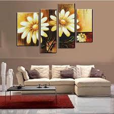sunflower oil painting canvas retro flower artwork handmade home