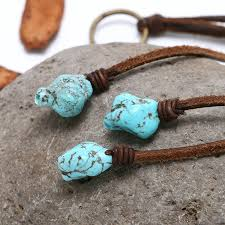 leather turquoise necklace images Aobei pearl handmade necklace in three strands with flat leather jpg