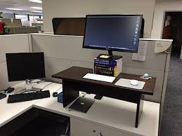 Building A Wooden Desk Top by Standing Desk In Cubicle At Work Do It Yourself Projects