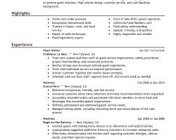 Waiter Job Resume by Waiter Job Resume Ecordura Com