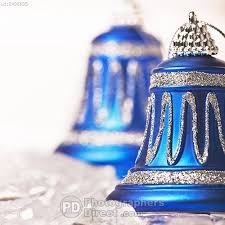 pd stock photo blue and white bell shaped christmas decorations