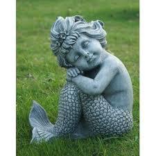 hi line gift ltd mermaid sitting statue colour gray mermaid and