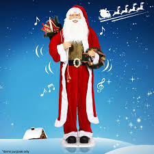 Life Size Santa Claus Decoration Santa Claus Life Size Animated Musical Figurine Motion Sensor