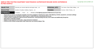 Maintenance Resume Sample by Fire Fighting Equipment Maintenance Supervisor Resume Sample