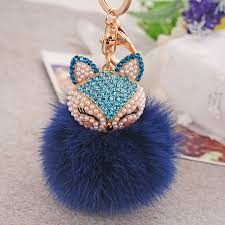 crystal key rings images 2016 new charm fox fluffy keychains crystal keyrings fur pom pom jpg