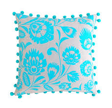 Home Decor Accessories Online Store Cushion Cover Linen Pillow Cover Polish Folk Print Turquoise