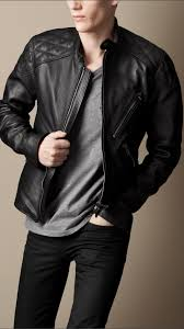 mens leather biker jacket burberry brit quilt detail leather biker jacket in black for men