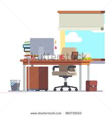 Office Desk Pedestal Drawers Workplace Office Desk Computer Comfortable Chair Stock Vector