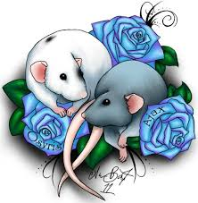 colorful rat with blue rose tattoo design by ashlyn bapst