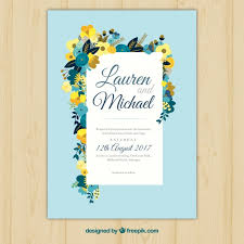 wedding invitations freepik blue wedding invitation with flat floral decoration vector free