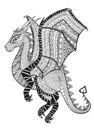 coloring pages animals coloring page adults dragon zentangle