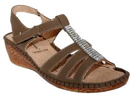 cushion walk ladies wedge heel summer sandal with diamante trim