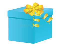 blue and yellow ribbon present blue box with yellow ribbon stock images image 13509424