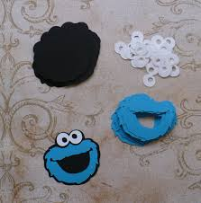 cookie monster face shapes aqua blue black die cut pieces for