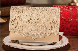 red gold ivory lace laser cut wedding invitations cards high