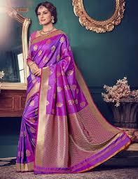 Buy Violet Embroidered Art Silk Price 2550 00 Inr Colour Purple Saree Fabric Kanchipuram Silk