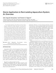 ozone application in recirculating aquaculture system an overview