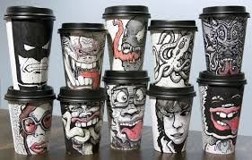 coffee cup designs miguel cardona s coffee cups for charity cool hunting