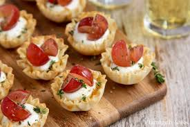 mini phyllo cups with goat cheese grapes and thyme a