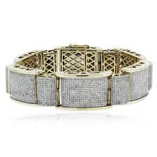 bracelet diamond yellow images 10k yellow gold round cut diamond pave thick link men 39 s bracelet jpg