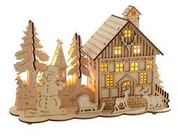 wooden house snowman reindeer scene wooden houses christmas
