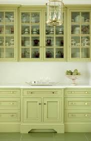 cute kitchen decoration with green kitchen cabinets also brown