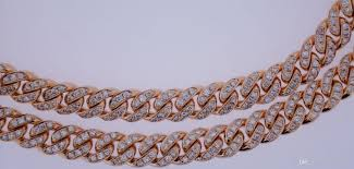 rose gold link necklace images Discount 19 cts diamond on pink rose gold miami cuban link chain jpg