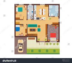 floor plan of modern family house flat modern family house interior room stock vector 730667593