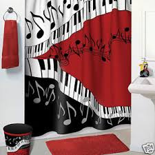 Red Black Shower Curtain Jazzy Music Red Black White Bathroom Accessories 5 Pc Set
