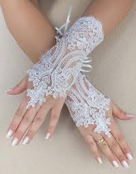 free ship white black wedding gloves french lace gloves bridal