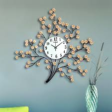 unique tree design metal decorative mute wall clock home