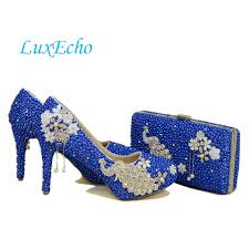wedding shoes and bags online shop new royal blue pearl wedding shoes and bags sets